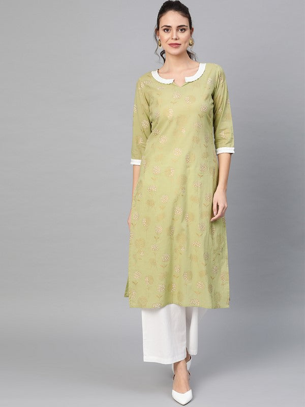 Idalia Sage Green Gold Print Kurta Set