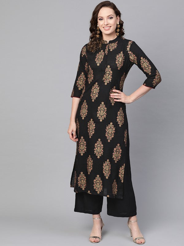 Idalia Black Gold Print Kurta Set