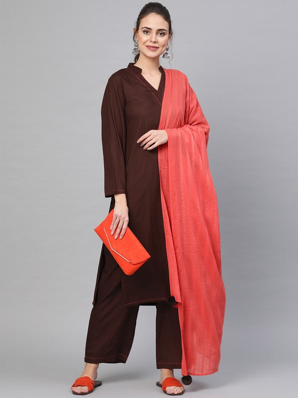 Idalia Solid Coffee Color Rayon Kurta Set With Cherry Art Silk Dupatta