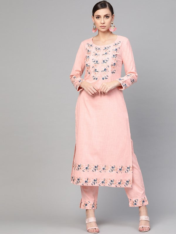 Idalia Baby Pink Embroidered Kurta With Pants