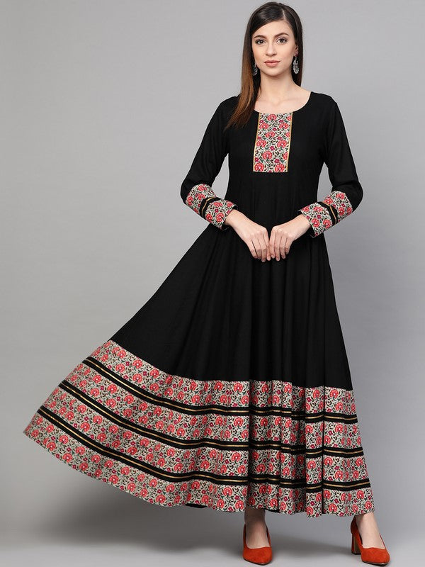 Idalia Black Anarkali Dress With Printed Borders