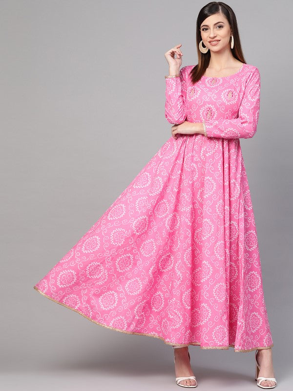 Idalia Pink Bandhani Print Flashed Dress