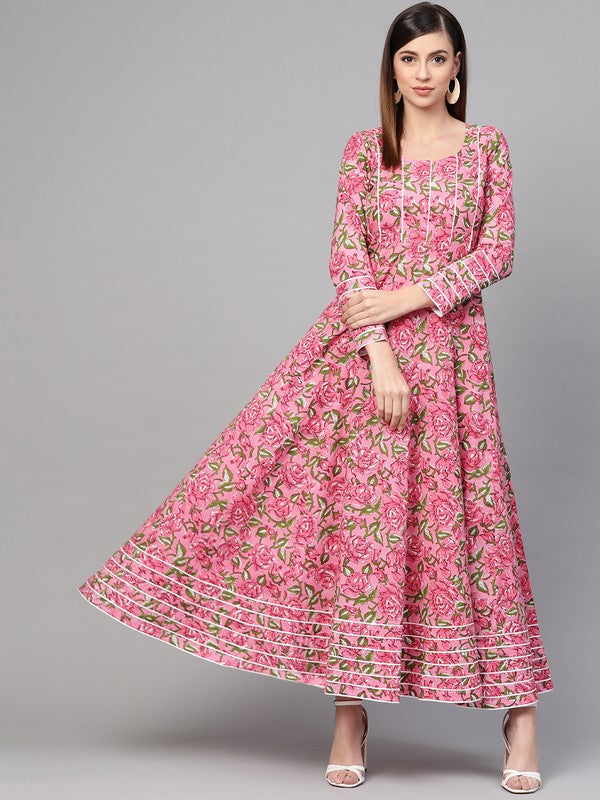 Idalia Pink Hand Block Floral Print Dress
