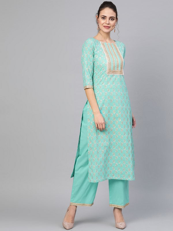 Idalia Rama Green Gold Print Kurta With Palazzo Pants
