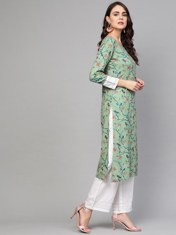 Idalia Multicolour Bird Print Kurta Set