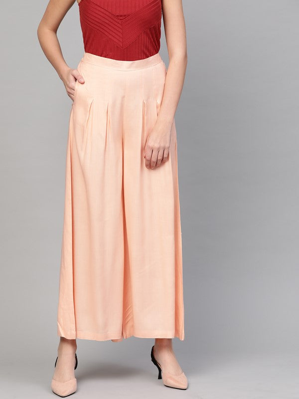 Idalia Cantaloupe Box Pleated Palazzos