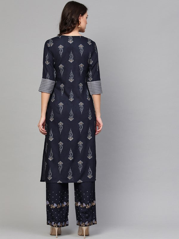 Idalia Navy Blue Khari Gold Print Kurta Set