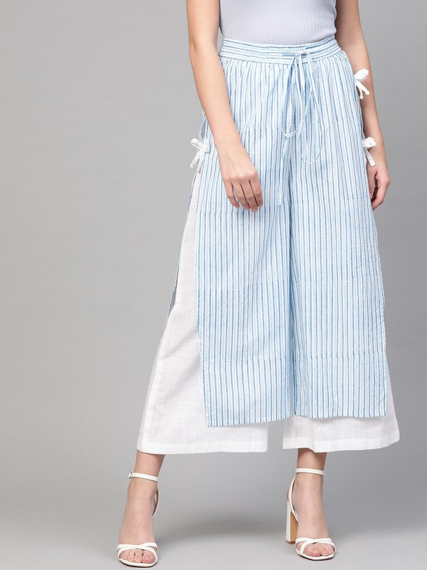 Idalia Sky Blue Printed & White Solid Palazzo Pants