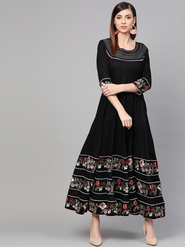 Idalia Black Anarkali Dress With Embroidery