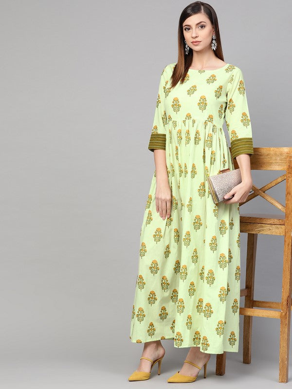 Idalia Green Boota Frilled Dress