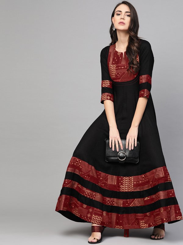 Idalia Black And Maroon Anarkali Dress