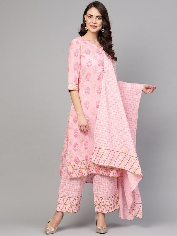 Idalia Baby Pink Printed Kurta Set With Dupatta