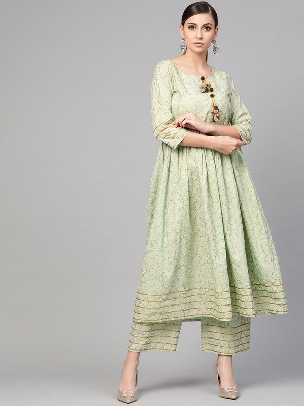 Idalia Light Green Printed Flared Kurta Set