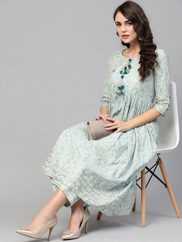 Idalia Sky Blue Printed Flared Kurta Set