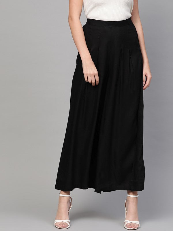 Idalia Black Box Pleated Palazzos