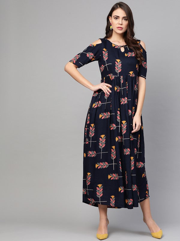 Idalia Navy Blue Printed Cold Shoulder Dress