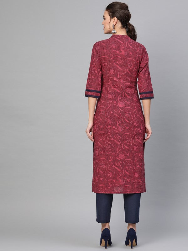 Idalia Wine Printed Kurta Set