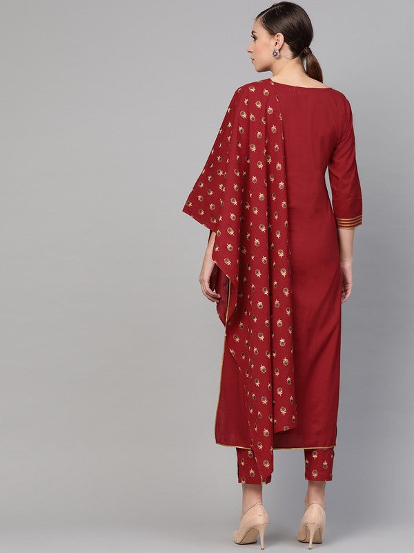 Idalia Maroon Kurta With Printed Pants & Dupatta