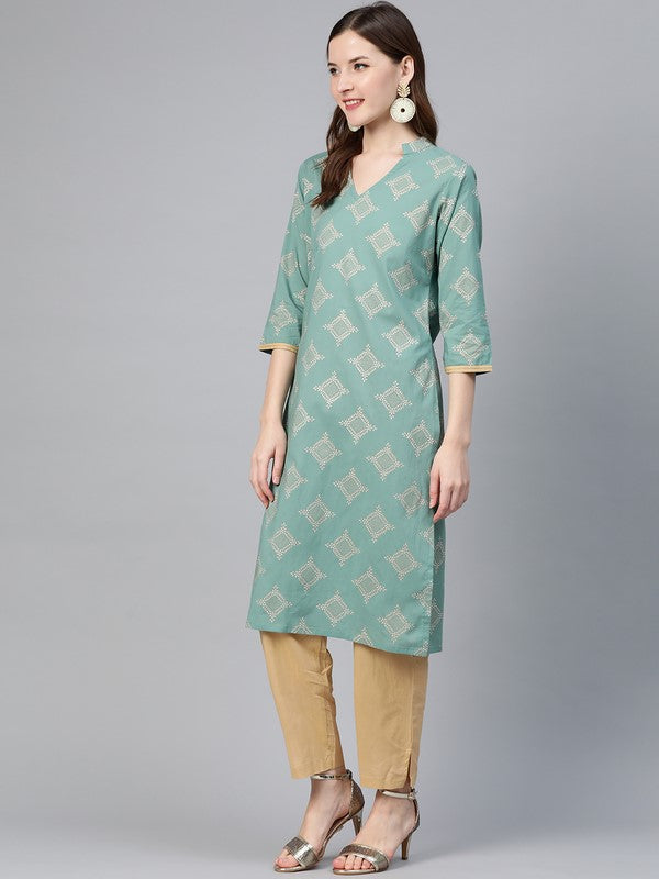 Idalia Gold Print Persian Green Kurta With Beige Pants