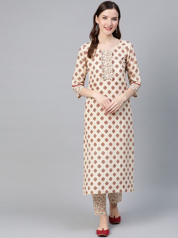 Idalia Cream Boota Printed Kurta With Jaal Printed Pants