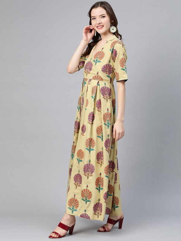 Idalia Camel Multicolour Boota Dress