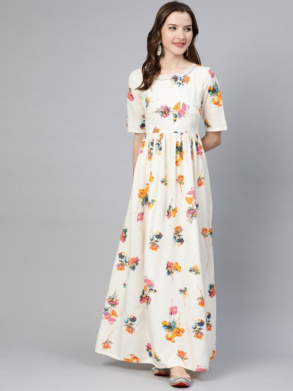 Idalia Floral Print White Dress