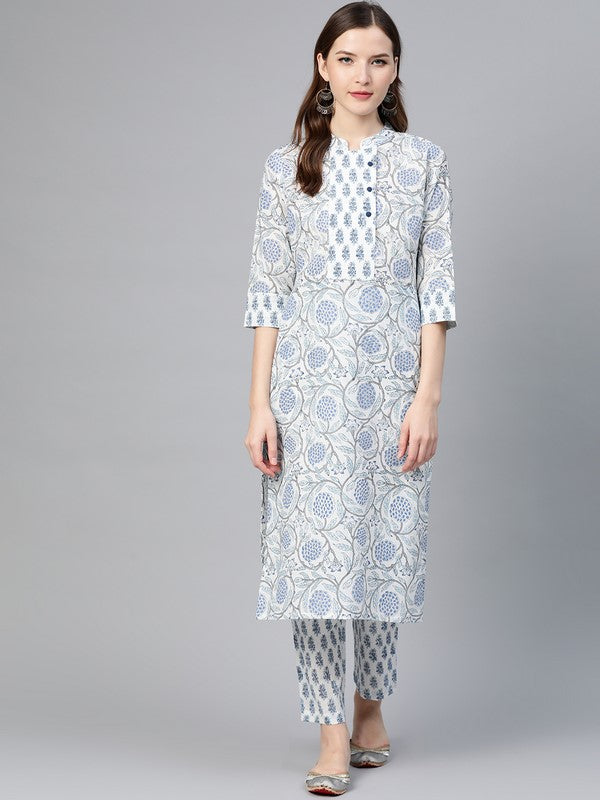 Idalia Printed Blue Kurta Set With Printed Pants