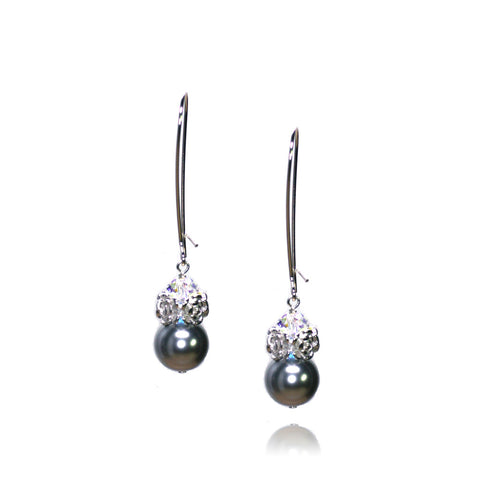 Caeli Dark Grey Pearl Earrings