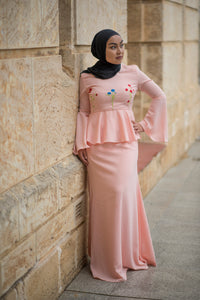 Almy Peplum Dress in Pink