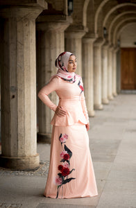 Heliza Peplum Dress in Apricot