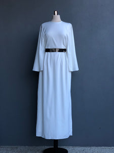 Hilda Dress in White with Removable Belt