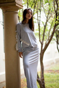 Ribbed Skirt in Grey