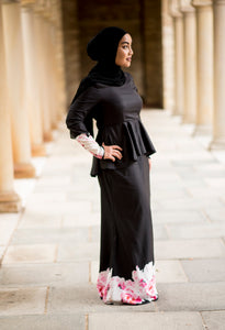 Rosa Peplum Dress in Black