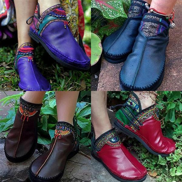 Women's Bohemian Handmade Comfortable Casual Round Toe Boot