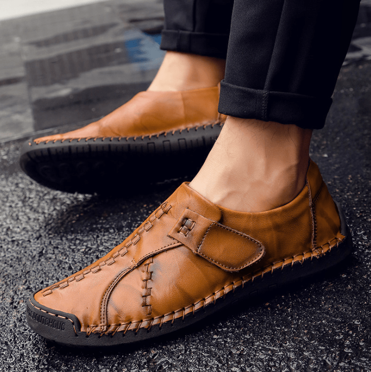 Men Soft Sole Hand Stitching Genuine Leather Hook Loop Flat Oxfords