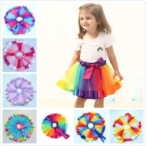 Girls Rainbow Mesh Dance Skirt