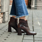 Vintage Waxed Leather High Heel Ankle Martin Boots