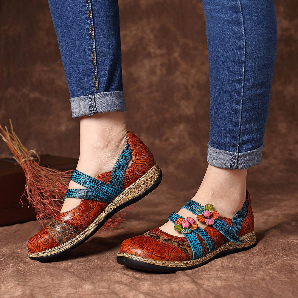 Retro Genuine Leather Flowers Splicing Flat Shoes