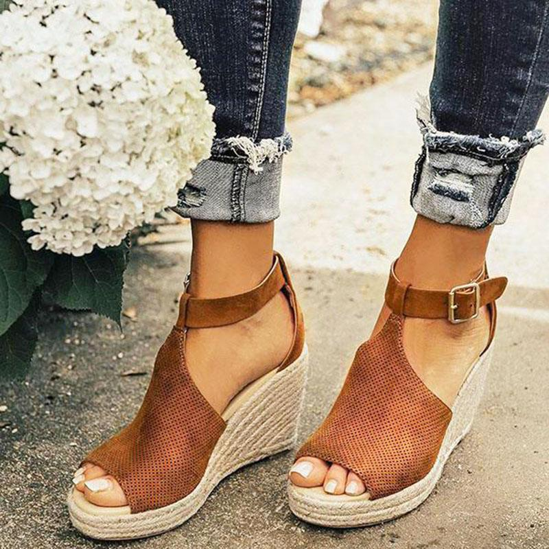 Peep Toe Comfy Platform Espadrille Wedge Sandals