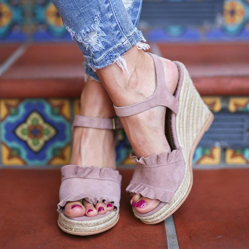Fashion Open Toe Buckle Espadrille Wedge Sandals