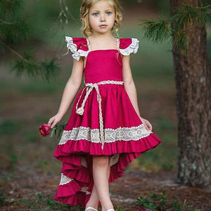 Toddlers Girl Flying Sleeves Flower Lace Dress