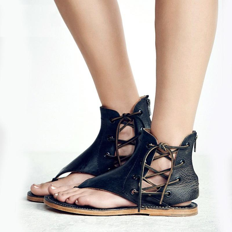 Women's Lace-up Flat Leather Sandals
