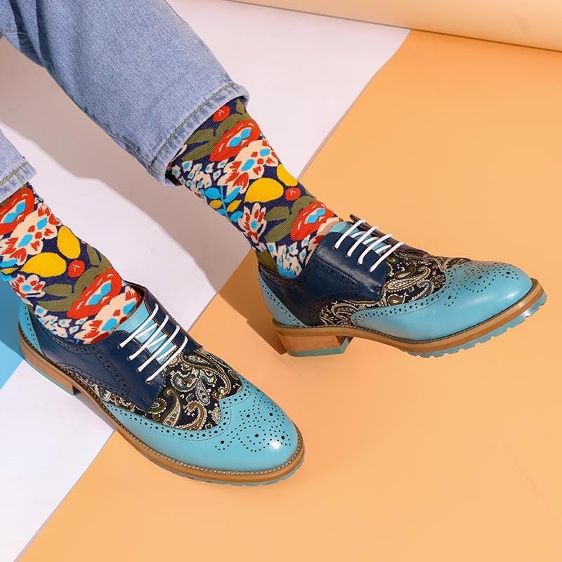 Man Handmade Silk Dragon Pattern Oxford Shoes