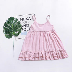 Summer Cute Solid Color Sleeveless Sling Children Dress