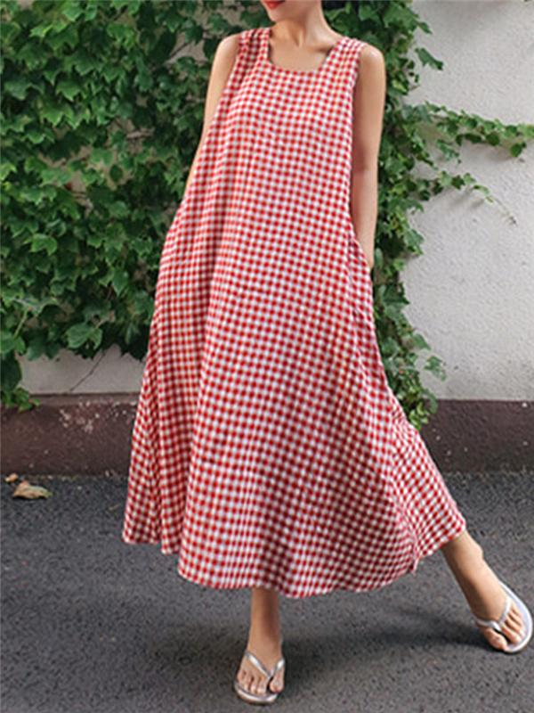 Sleeveless Gingham Check Dress With Pockets