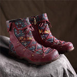 Retro Casual Splicing Jacquard Lace Up Zipper Genuine Leather Comfy Flat Boots