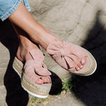 Fashion Peep-toe Suede Espadrille Mule Shoes