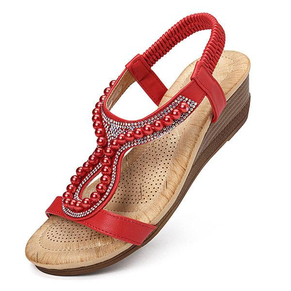 Pearl-decorated Slip-on Wedge Sandals