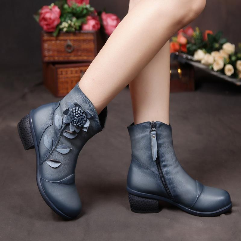 Retro Handmade Flower Genuine Leather Ankle Boots