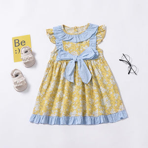 Pastoral Style Fresh Floral Small Flying Sleeve Bow Dress